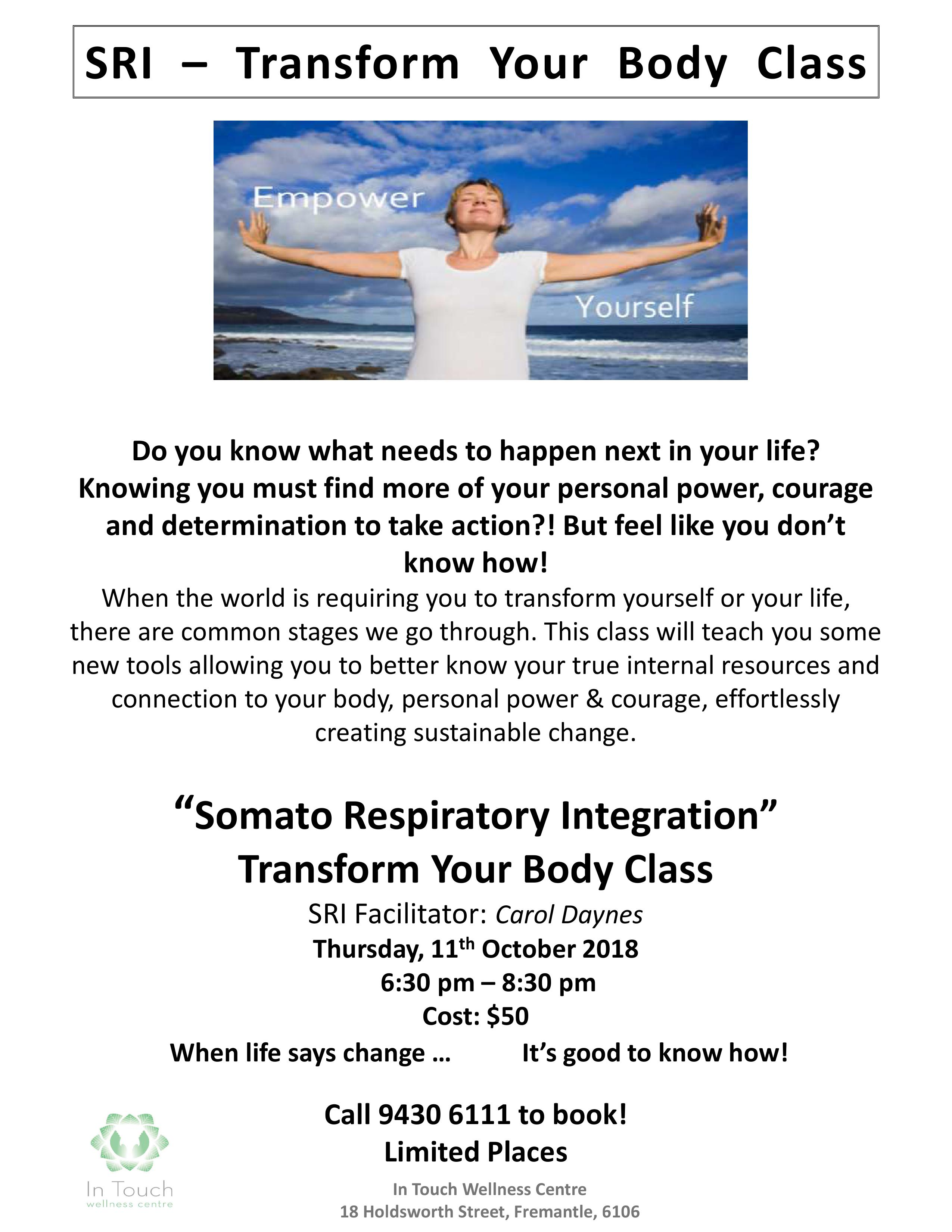 SRI Transform with your body 11 Oct 2018